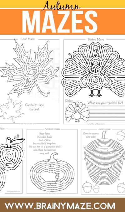 Fall Amp Thanksgiving Mazes Brainy Maze