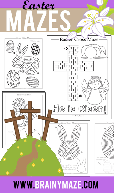 Easter Mazes for Kids Brainy