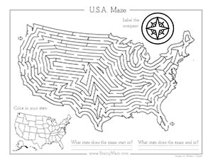 Patriotic Themed Mazes - Brainy Maze
