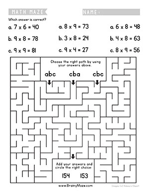 Math Mazes For Kids