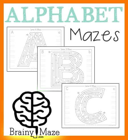 alphabet mazes activity pages brainy maze. Black Bedroom Furniture Sets. Home Design Ideas