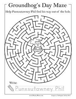 Groundhog S Day Mazes Amp Worksheets Brainy Maze