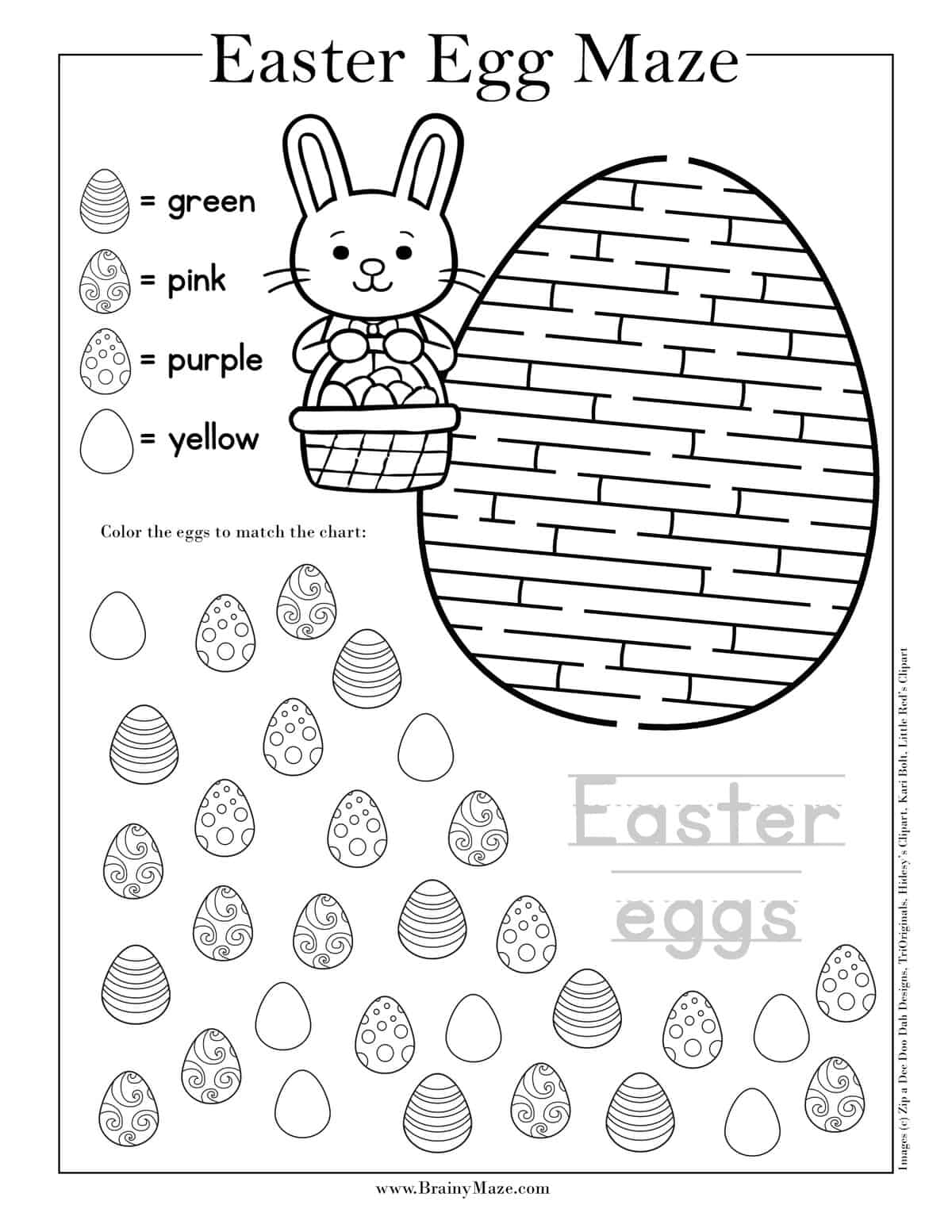 Easter Maze Coloring Page - Twisty Noodle | 1553x1200